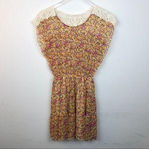 Yellow Dress with flower & crochet detail